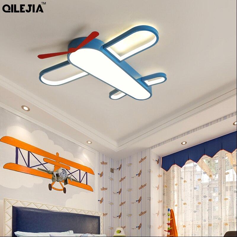 New Modern LED Child Chandeliers Lamps For Girls Room Boy Bedroom Blue Airplane Light Shade Lighting