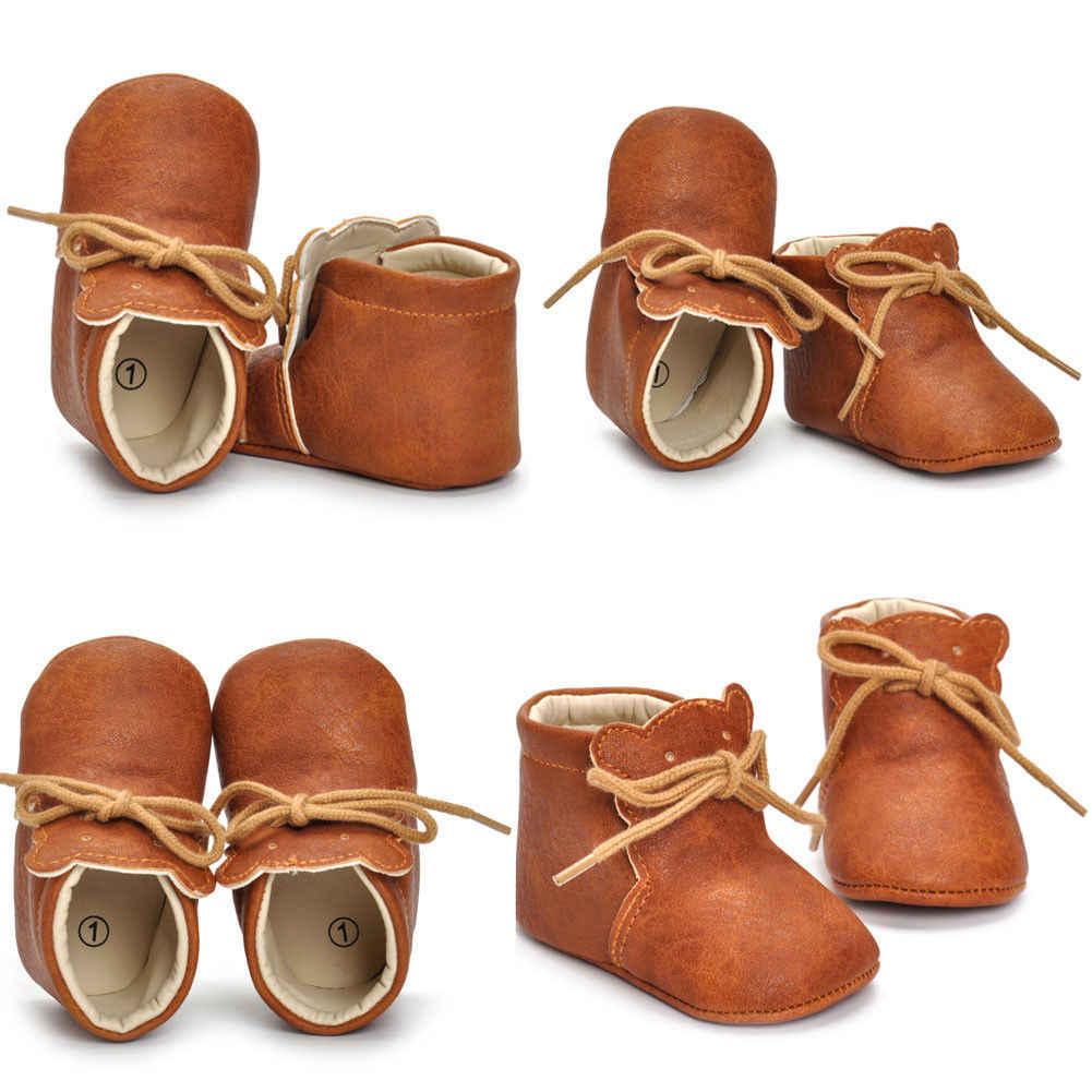 ทารกแรกเกิดเด็กวัยหัดเดินเด็กสาวกางเกงขายาวฤดูใบไม้ร่วงฤดูใบไม้ร่วงรองเท้าเด็กอ่อน 0-18 เมตรของแข็งลูกไม้ขึ้นหนังสบายๆรองเท้า