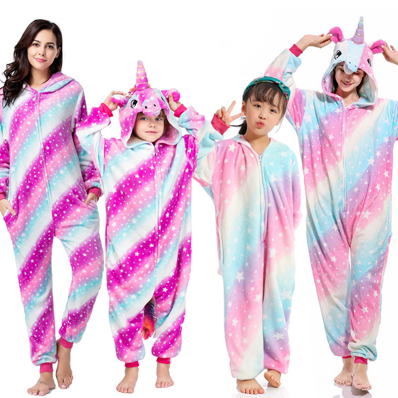 Kigurumi Women Kids Unicorn Pajamas Unisex Couples Onepiece Cartoon Cosplay Costume Animal Onesie Pyjamas Adult Girls Sleepwear