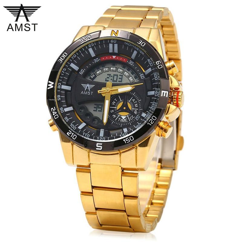Férfi órák luxus márka AMST kettős kijelző óra férfi alkalmi - Férfi órák