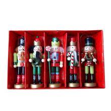 5 Pcs Christmas Gift Nutcracker Puppet King Soldier 12CM 5-Piece Set Children's Room Decoration