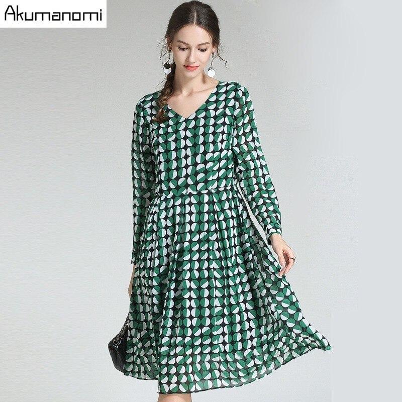 Automne mousseline de soie Dot Print robe femmes vêtements vert col en v manches complètes drapée mi-mollet printemps robe grande taille 5xl 4xl 3xl 2xk-M