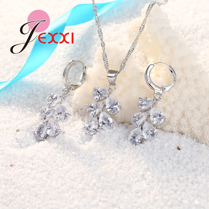 JEXXI Wedding Bridal Jewelry Set Untuk Wanita Warna-warni Water Drop - Perhiasan fashion - Foto 2
