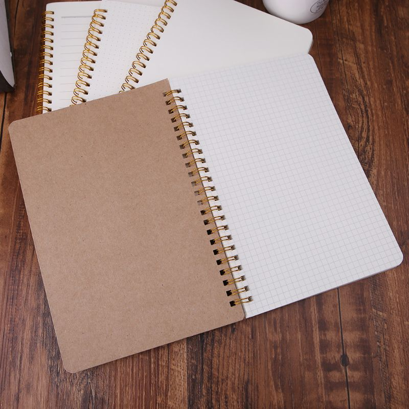 A5 Bullet Notebook Kraft Dot Grid Time Management Blank Book Spiral Journal Weekly Planner School Office Supplies