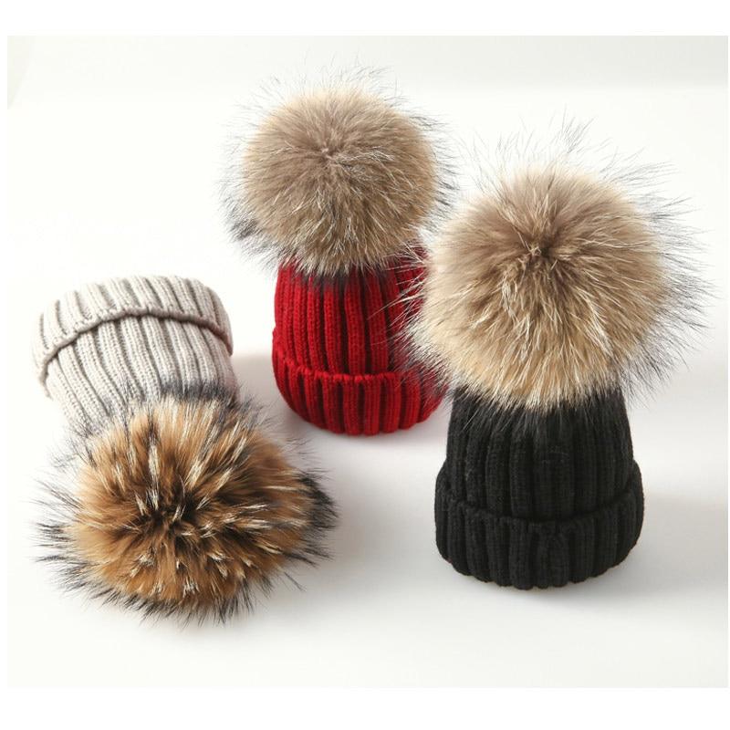 Winter Female Fur Pom Poms hat Winter Hat for Women Girls Hat,Rose red with Fur,Kid Size