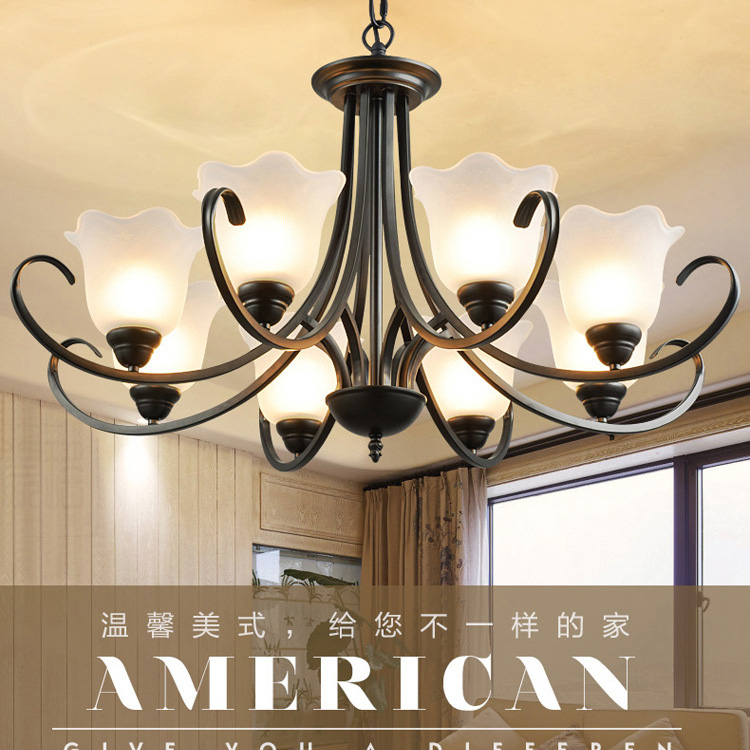 American country living room lamp Nordic wrought iron chandeliers restaurant lighting garden bedroom lamps European retro E27 lamps new crystal pendant lights nordic european style living room restaurant bedroom modern minimalist american country iron