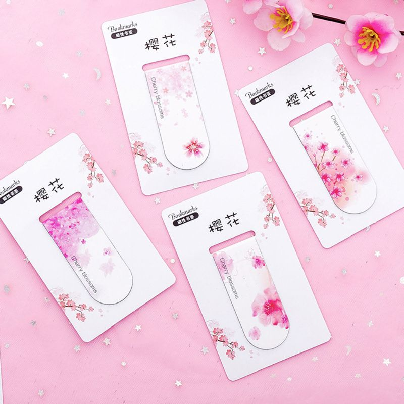 4pcs/set Cherry Blossoms Magnetic Bookmark Book Marker Page Clip Office Supplies Student Stationery Souvenir Collection Kids Gif
