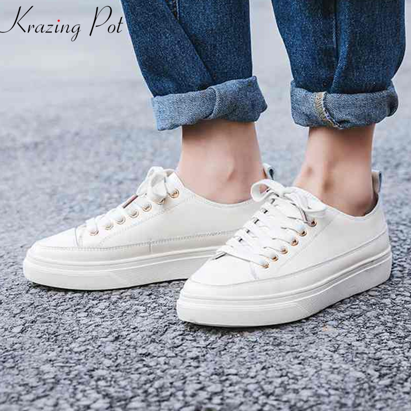 Krazing Pot 2019 full grain leather lace up keep warm round toe sneaker flat platform cozy