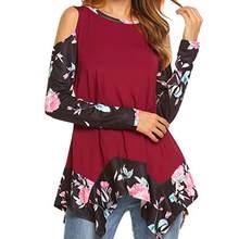 ff1a5a96e9bdaa (Dostawa od US) CHAMSGEND kobiet kwiatowe wzory z długim rękawem zimno  ramię tuniki T-Shirt topy sexy kobieta koszula 2018 C30831