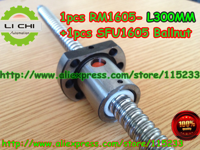 ФОТО Top best price 1pcs Ball screw SFU1605 - L300mm+ 1pcs RM1605 Ballscrew Ballnut for CNC and BK/BF12 standard processing