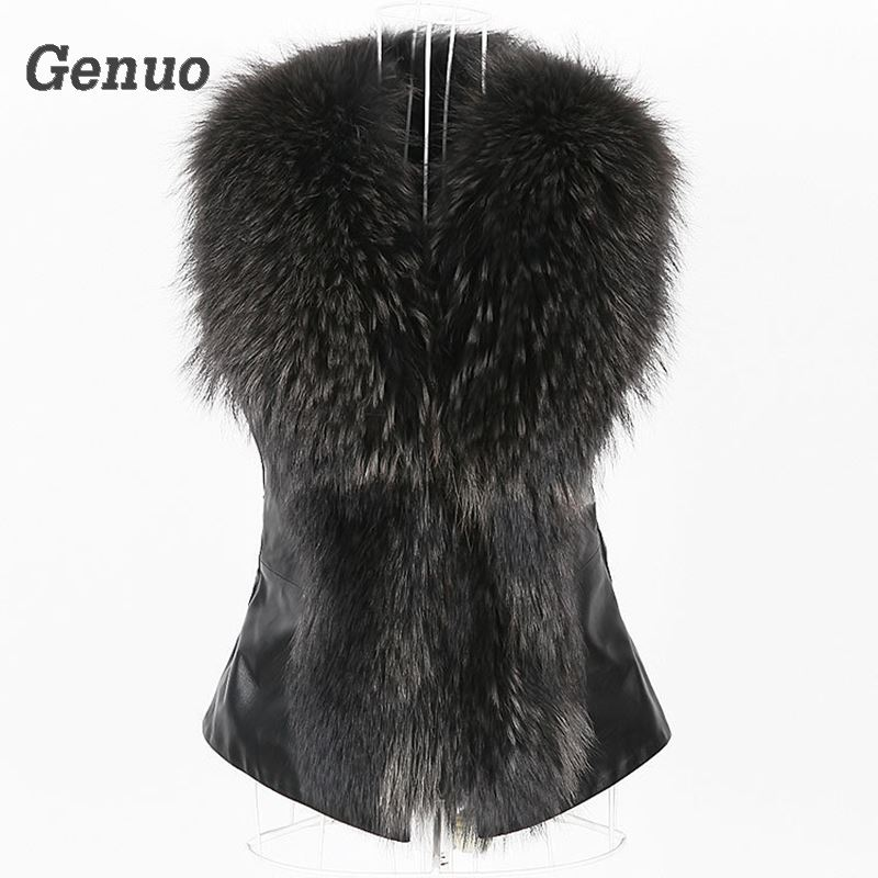 Genuo Leather Jcket Faux Fur Vest Coat Women Winter Sleeveless Faux Fox Fur Collar Vest Winter Jacket Coat Women Streetwear in Faux Fur from Women 39 s Clothing