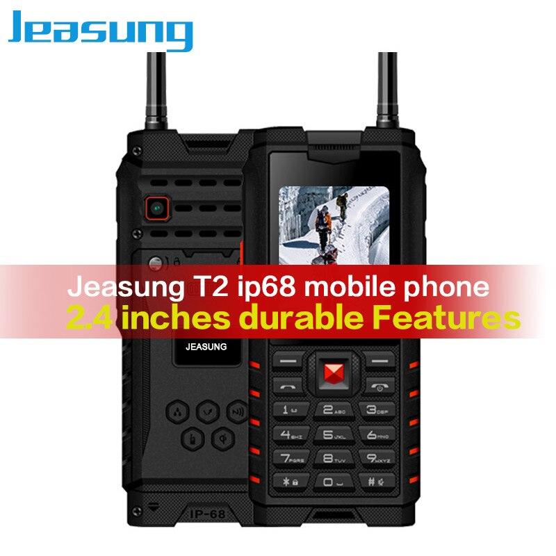 Jeasung T2 ip68 Mobile Téléphone 2.4 pouce Robuste Fonctionnalité de Téléphones 2g talkie-walkie 4500 mah Russe Langue clavier