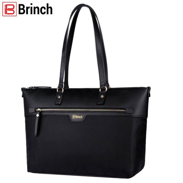 0a0a81d18b49 US $39.99 56% OFF|BRINCH 15.6 inch Women Laptop Tote Bag Nylon Microfiber  Zipper Carrying Bag Travel Computer Shoulder Bag Handbag -in Top-Handle  Bags ...