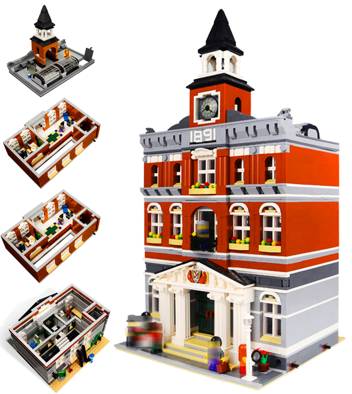 LEPIN 15003 Streetview Series 2859pcs Kid's Toys The town hall Model Building Block Bricks set Toys For children new lepin 15003 2859pcs the topwn hall model building blocks kid toys kits compatible with 10224 educational children day gift