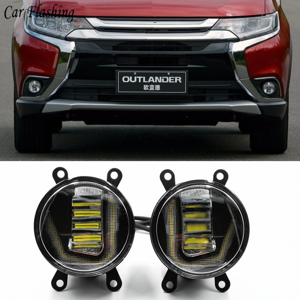 3 IN 1 Functions Auto LED DRL Daytime Running Light Car Projector Fog Lamp with yellow