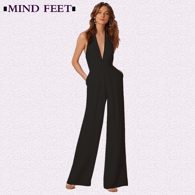 80aa483201bc MIND FEET Women Black Jumpsuits 2018 Spring Sexy Loose Multicolor  Sleeveless Backless Halter Wide Leg Long Pants Lady Jumpsuits