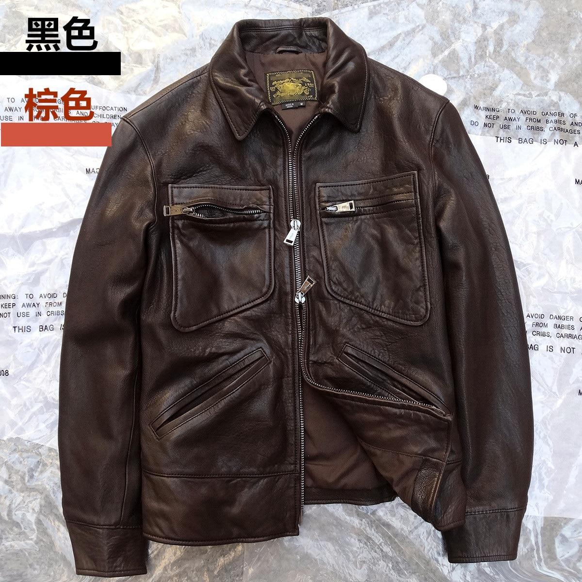 Leather jacket xs - New Arrival Men S Motorcycle Coat Genuine Natural Sheepskin Leather With Pocket Male Short Jacket Black Brown Xs Xl Xxl Xxxl 3xl