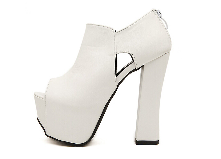 Cm Sandalias Plataforma Sansals Talón Feminino Sapatos Bombas Toe Grueso Alto Peep Mujeres Sexy Mujer talón 16 Negro Zapatos blanco qpPxwEdq5