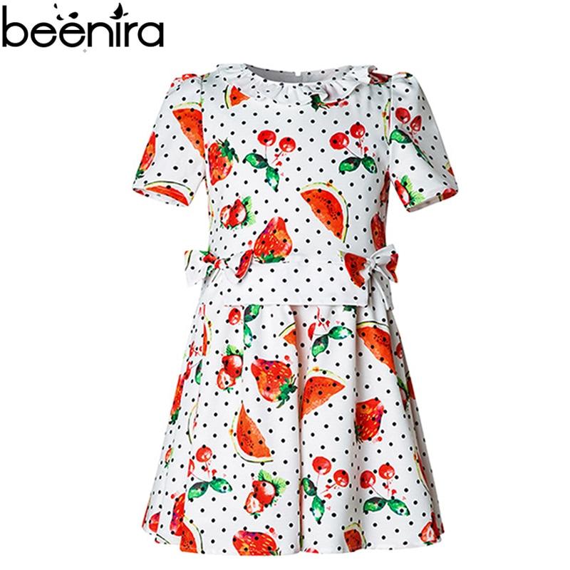 BEENIRA Summer Girls Dress Child Fruit Print Costume Baby Cherry Strawberry Lotus Leaf Clothing for Princess High Quality 200g lot nuciferine lotus leaf extract lotus leaf p ewith high quality