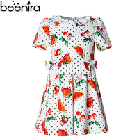 BEENIRA Summer Girls Dress Child Fruit Print Costume Baby Cherry Strawberry Lotus Leaf Clothing for Princess High Quality
