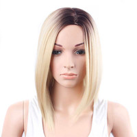 2017 * Gold Hair Lace Front Wig Long Straight Synthetic Wigs For Women Heat Friendly