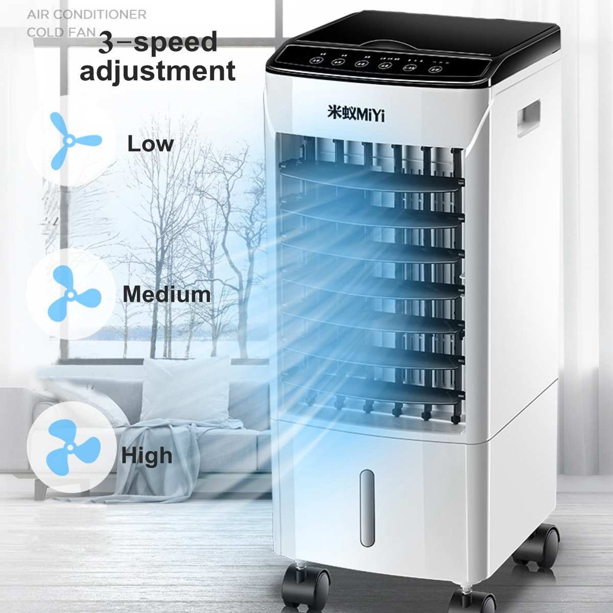 10L Double Water Tank Portable Air Conditioner Cooler Fan Include Ice Crystal 3 Wind Speed Low Noise 220V