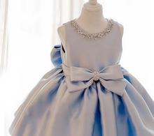 2017 Sky Blue tulle Princess Girl Party Dresses Diamonds Big Bow Wedding Dress for Christmas Kids Birthday clothes 12M-12Y