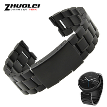 22 mm negro reemplazo de acero inoxidable correa de reloj Band Motorola Moto 360 reloj inteligente