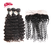 Ali Queen Hair Products Peruvian Remy Human Hair Deep Wave 3Pcs Bundles With Frontal Bundles Hair Extensions 13x4 Lace Frontal