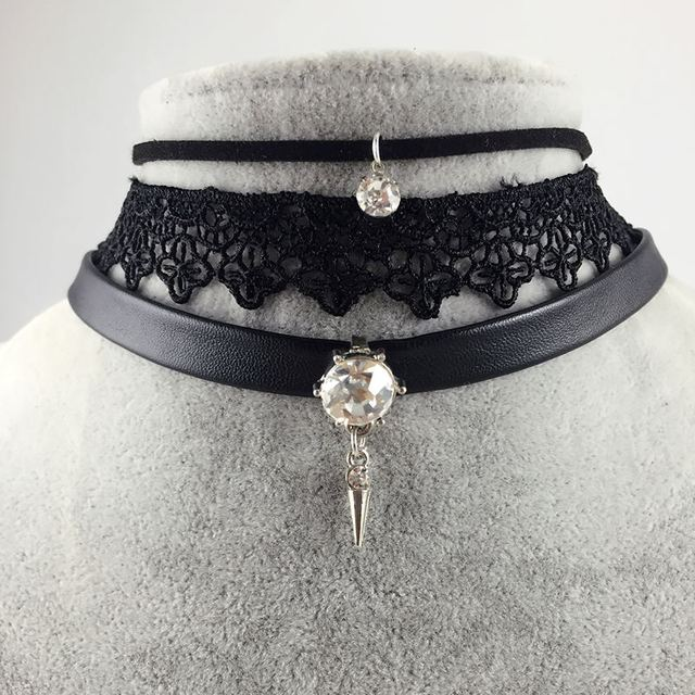 Crystal Stone Leather Choker 2017