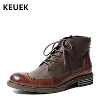Мужские ботинки в британском стиле; модная Винтажная обувь с перфорацией типа «броги»; Роскошные ботильоны из натуральной кожи в байкерско