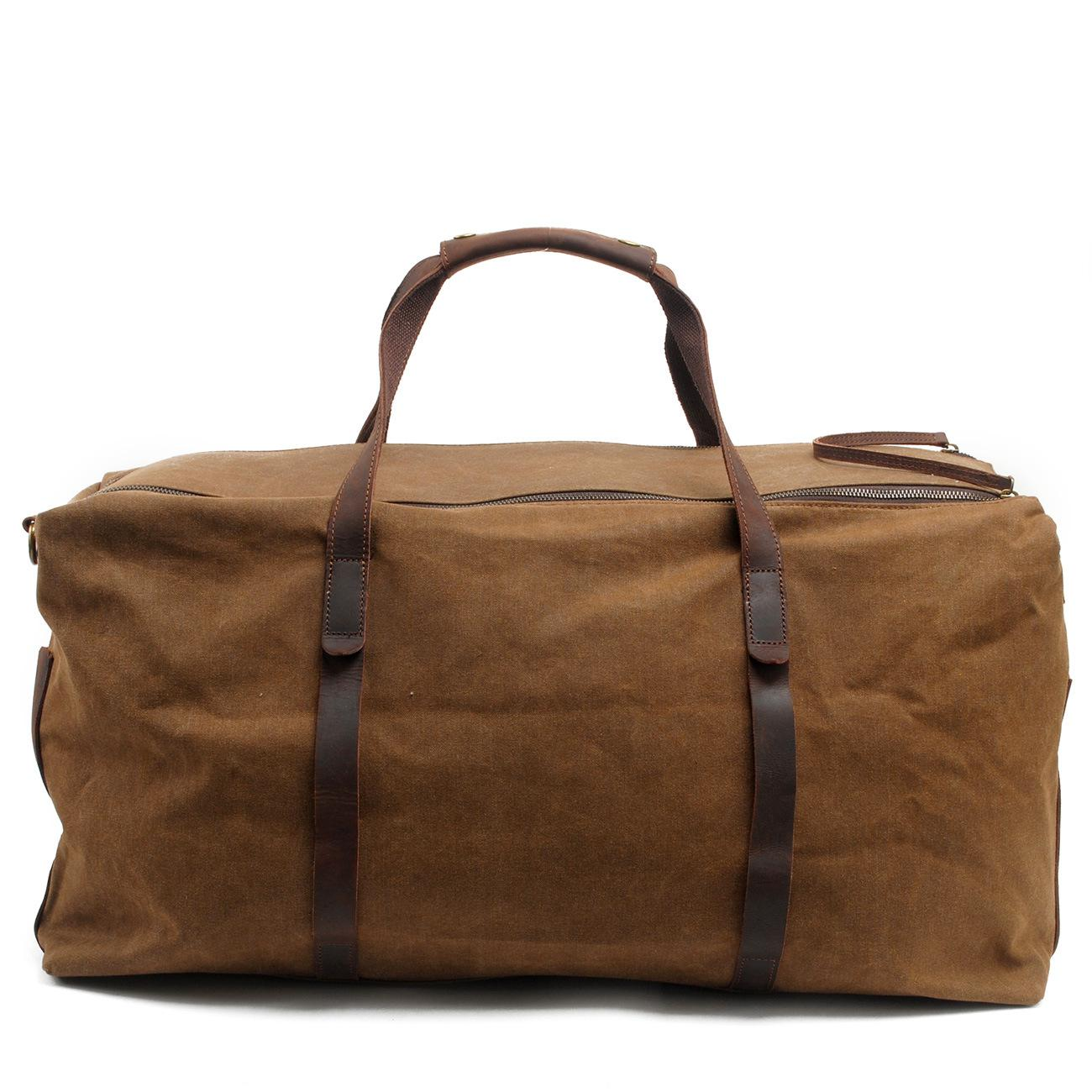 2016 Rushed Men Solid Khaki Travel Bags Vintage Wax Printing Canvas Leather Luggage Duffel Tote Large Weekend Bag Overnight mybrandoriginal travel totes wax canvas men travel bag men s large capacity travel bags vintage tote weekend travel bag b102
