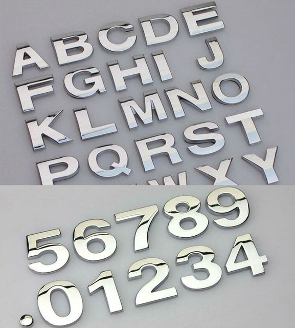 New decal metal sticker custom text personalized 3d letter motorcycle car sticker diy emblem sticker car