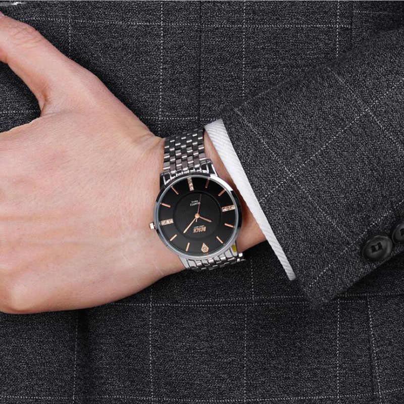 BOSCK Top Luxe Montre Hommes Marque Montres homme En Acier Inoxydable Ultra Mince Bande Quartz Montre-Bracelet De Mode décontracté Montres En Cuir
