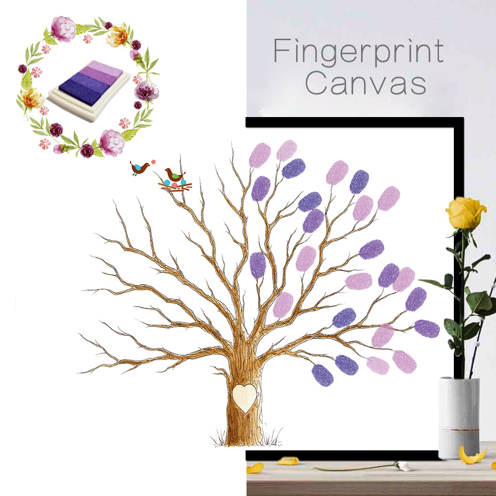 KEDODE Creative Sign In Tree DIY Coloring Numbers Fingers Doodle Decoration Wedding Party Birthday Fingerprint Sign Tree