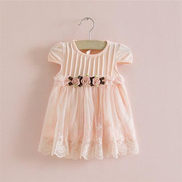 סיטונאי 5 יח'\חבילה שלוש רקמת פרחים שמלה החדש בייבי שמלת קיץ שמלת כותנה אונליין מסיבת יום ההולדת בייבי 0-2 T
