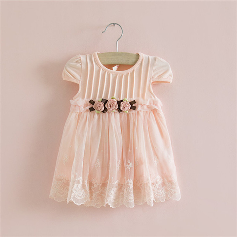 Wholesale 5pcs/lot Three Flowers Embroidery Baby Dress New Baby Dress Summer Party Birthday Baby Dress Cotton A-line 0-2T