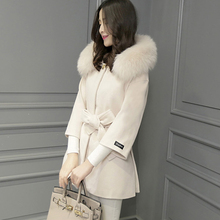 New 2015 Winter Women's Cashmere Wool Coat Casual Slim Long Clothing Fur collar Jacket Tops Fashion Womens Jackets And Coat