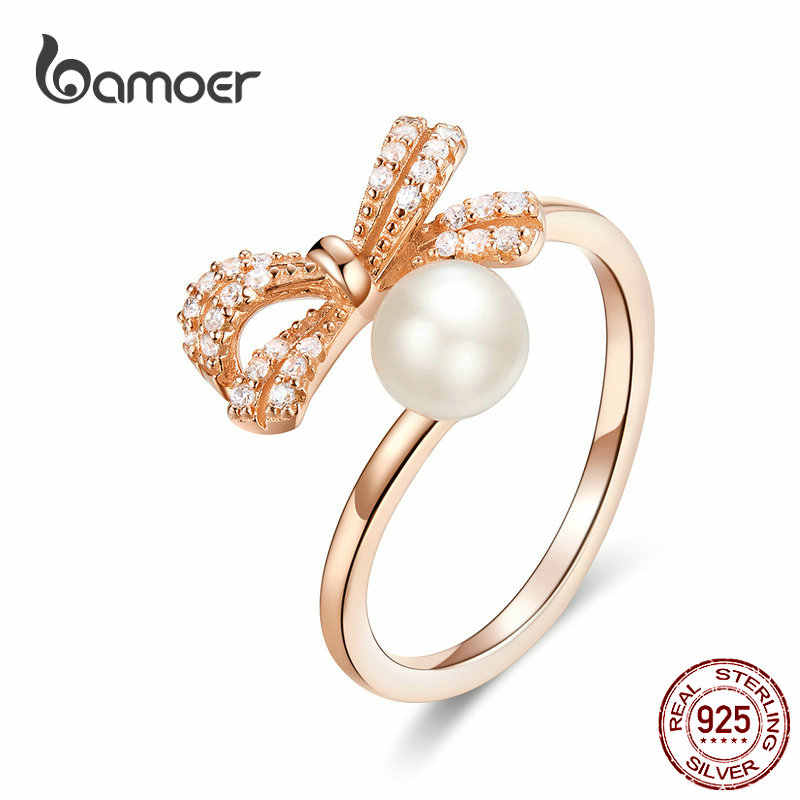 bamoer Bowknot Pearl Adjustable Finger Rings for Women 925 Sterling Silver Rose Gold Color Freshwater Pearl Jewelry SCR552
