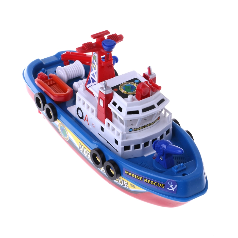 2018 Fast Speed Music Light Electric Marine Rescue Fire Fighting Boat Toy For Kids Oct23_E