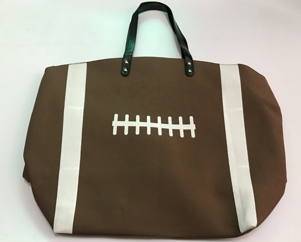 2016 New Football Softball White Baseball Jewelry Packaging Blanks Kids Cotton Canvas Sports Bags Baseball Softball Tote Bag