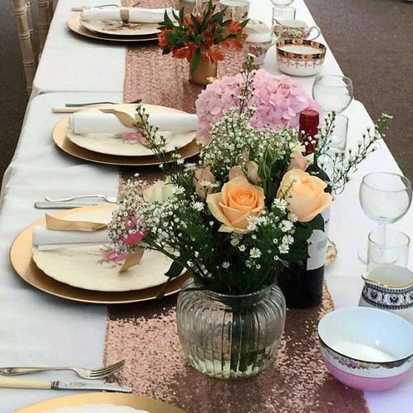 Popular 30x180cm Glitter Rose Gold Sequin Table Runner Tablecloth Wedding  WO35
