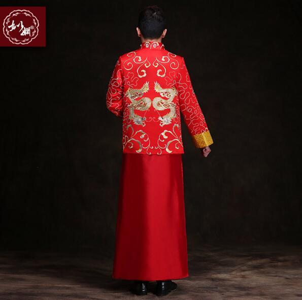 Kineski stil mladoženja vjenčanja duga haljina tang odijelo muško - Nacionalna odjeća - Foto 2