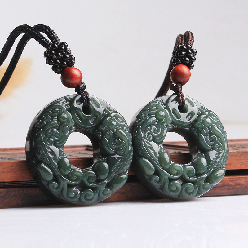 100% Natural Dark Green HETIAN Stone Pendant Round Peace Buckle PIXIU - Fashion Jewelry - Photo 2