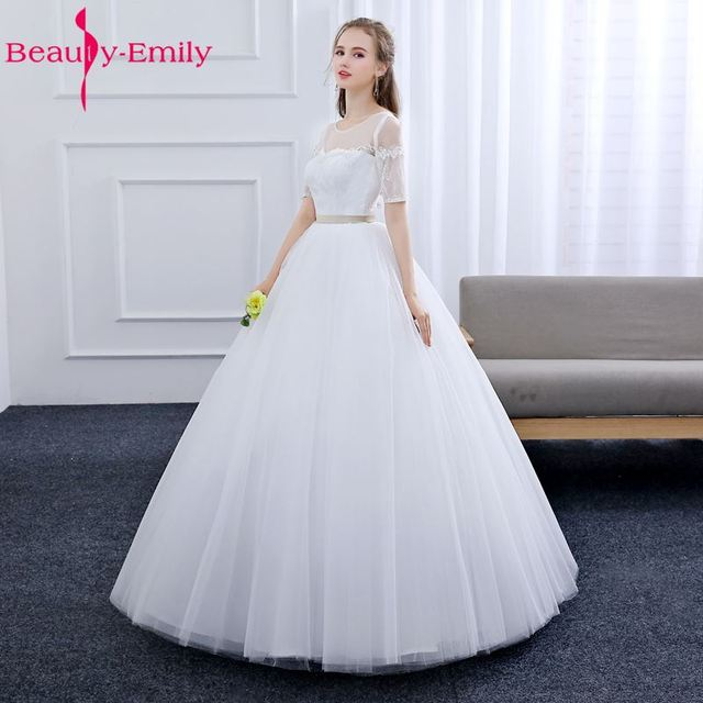 Beauty Emily Lace White Wedding Dresses 2019 O Neck Lace Up Half Sleeve Lace  Bridal Gowns Wedding Party Bride Dresses e343959f0ee0