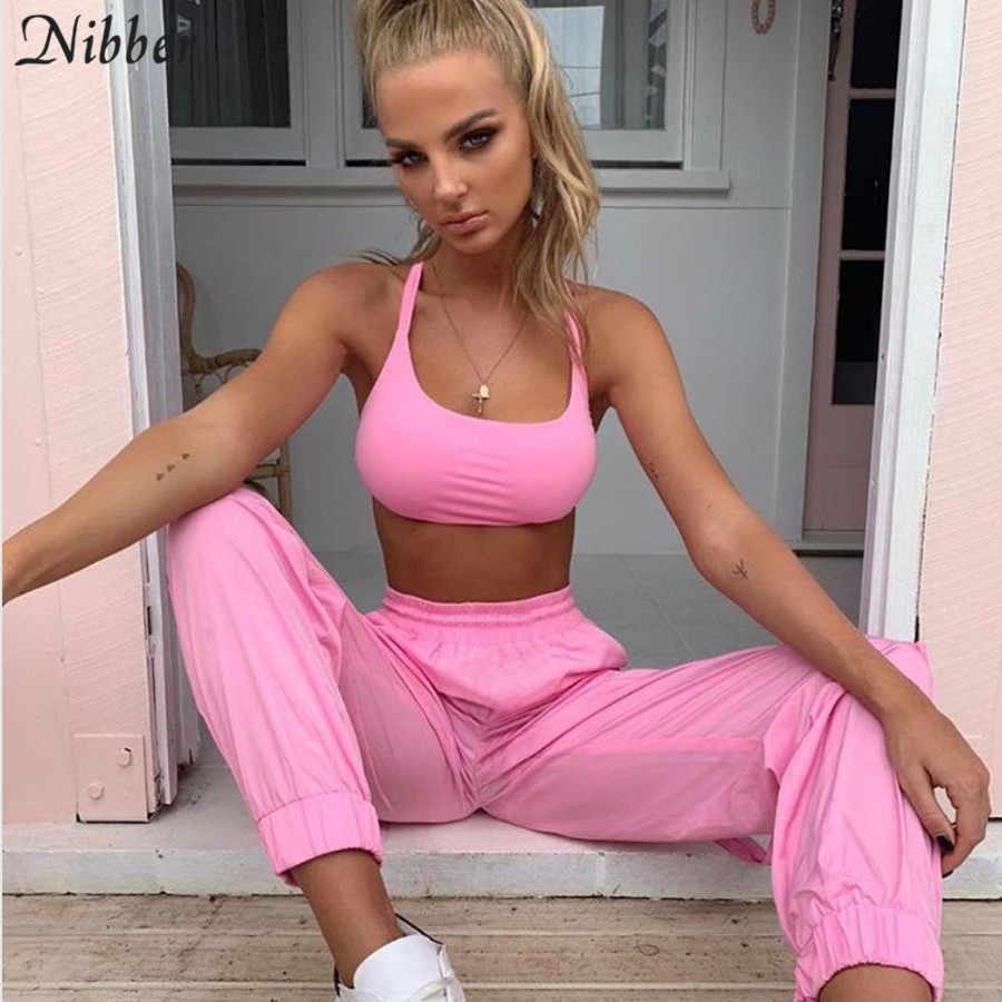 Nibber primavera Rosa básico Mujer camisola casual pantalones two2 piezas set2019hot verano sólido deportes pantalones tanque top trajes activos