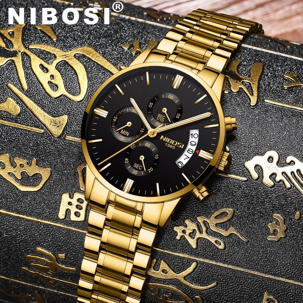 NIBOSI Wasserdicht Casual Männer Luxusmarke Quarz Militär Sport Uhr Leder Stahl Männer Armbanduhren relogio masculino