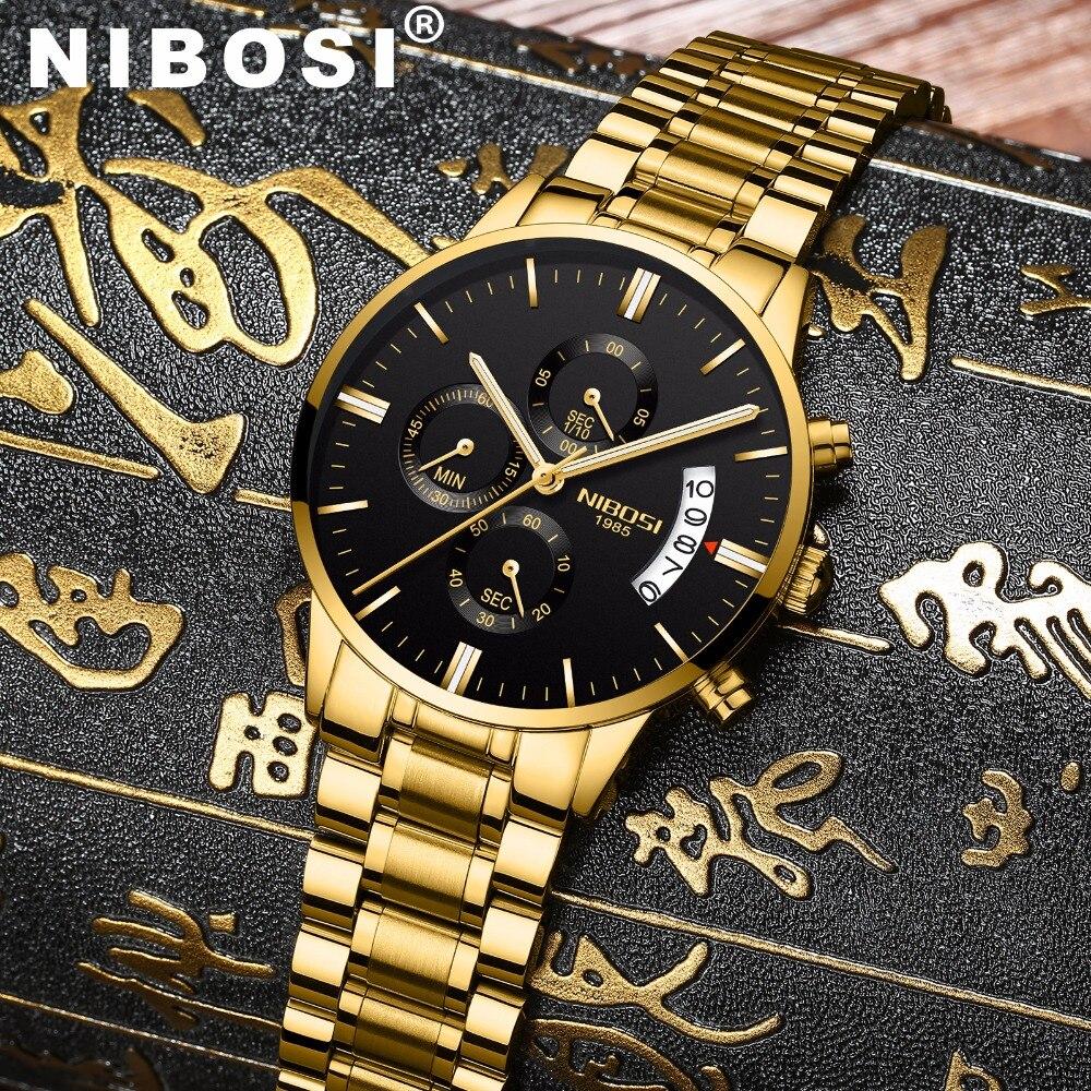 Nibosi impermeable casual reloj hombres de lujo de cuarzo Militar deporte reloj de cuero de los hombres de acero relojes de pulsera Relogio Masculino