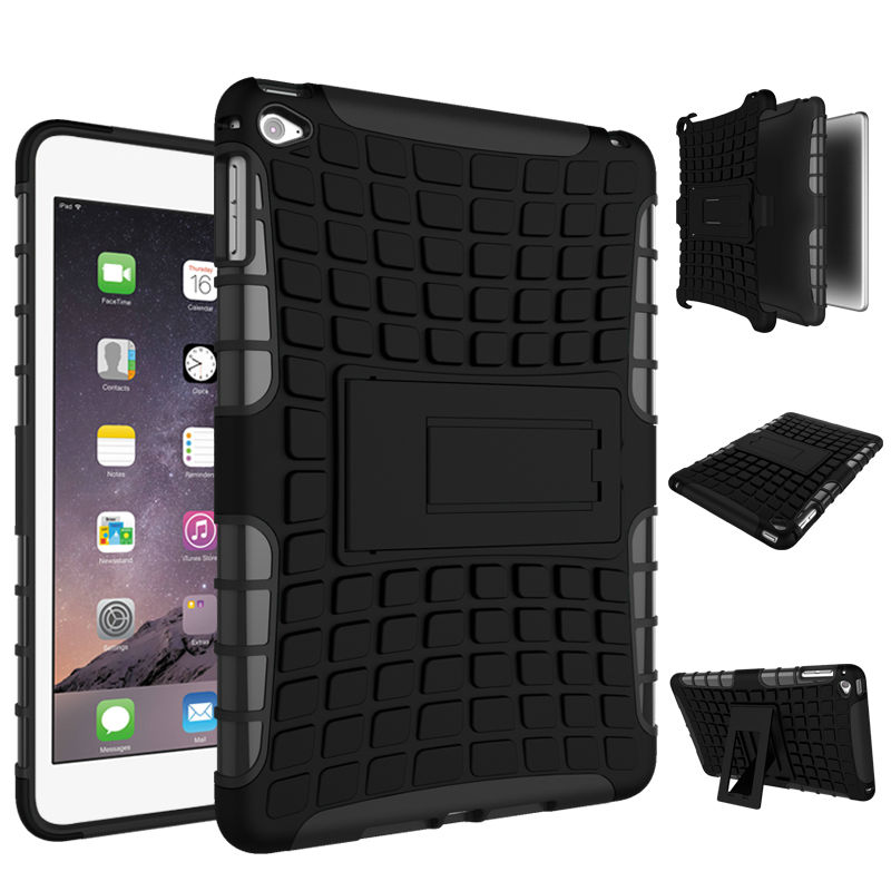 Hybrid Heavy Duty For ipad air 2 Stand Tablet Case Hard Back Cover For Apple iPad air 2 ipad 6 Shockproof Armor PC+TPU tablet case for ipad air 2 a1567 extreme heavy duty shockproof rubber cover with stand hard cover case for ipad pro 9 7 inch