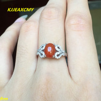 KJJEAXCMY Fine jewelry 925 sterling silver inlaid colorful onyx female agate ring wholesale